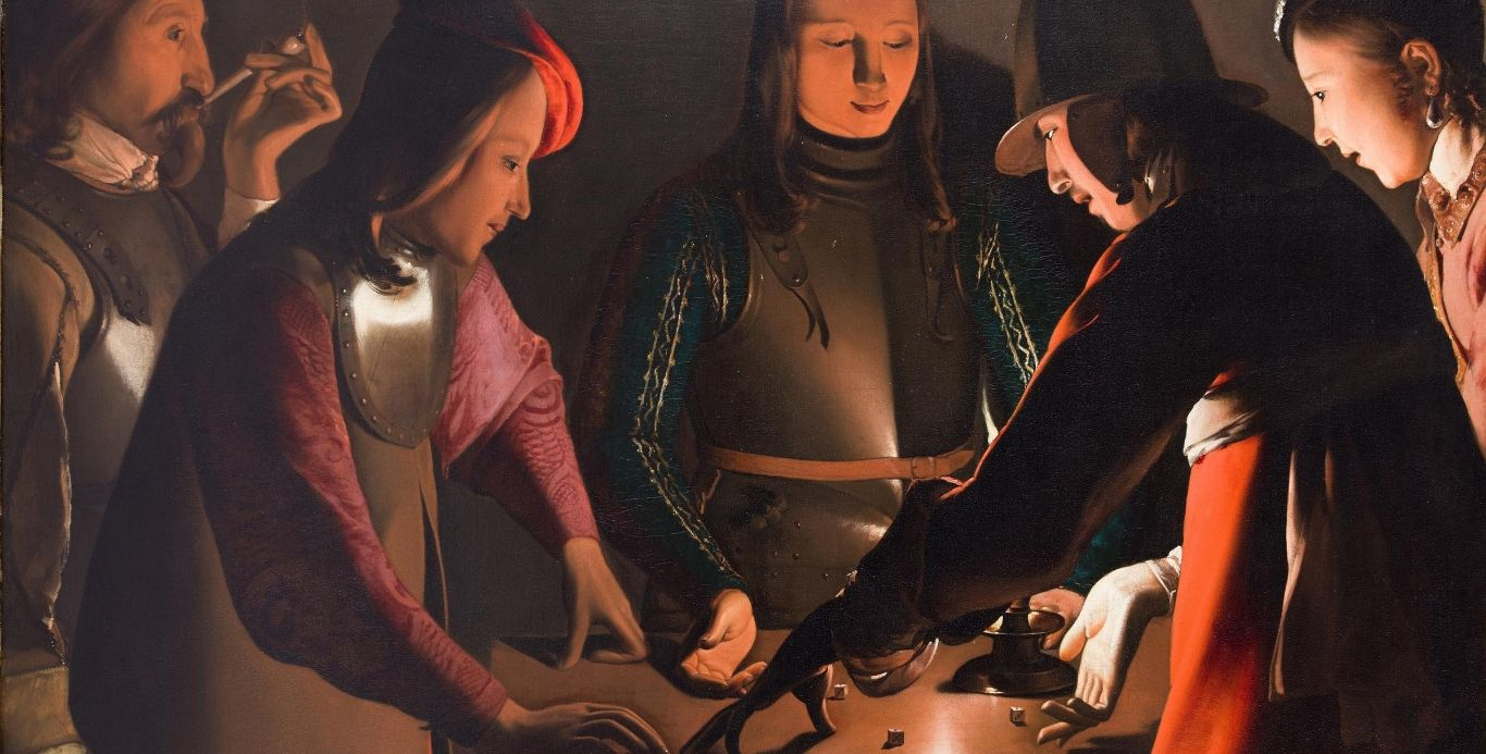 An image of The Dice Players painting