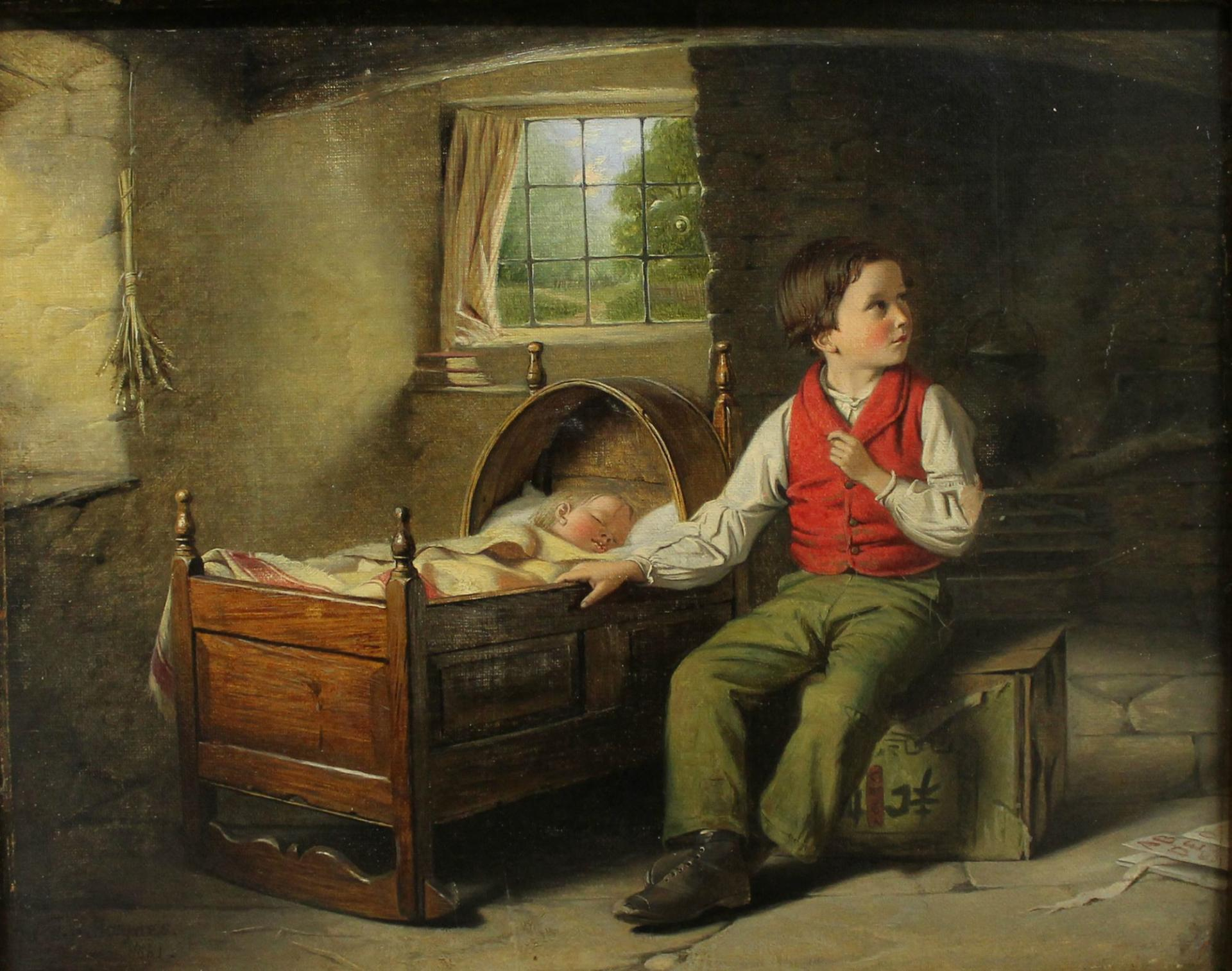 Oil painting of a young boy watching over his baby sibling called Some Must Watch While Some Must Sleep