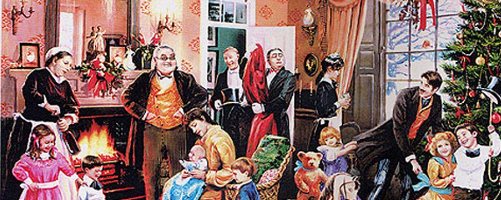 A Picture Of A Victorian Christmas Scene With Family Gathered Around The Tree