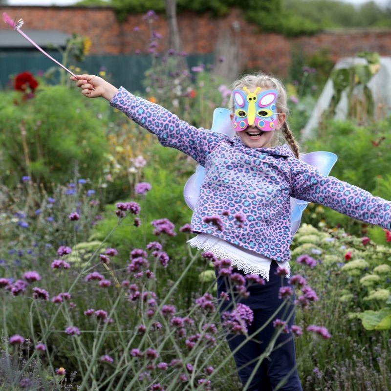 Girl Dressed As A Butterfly in the Walled Garden