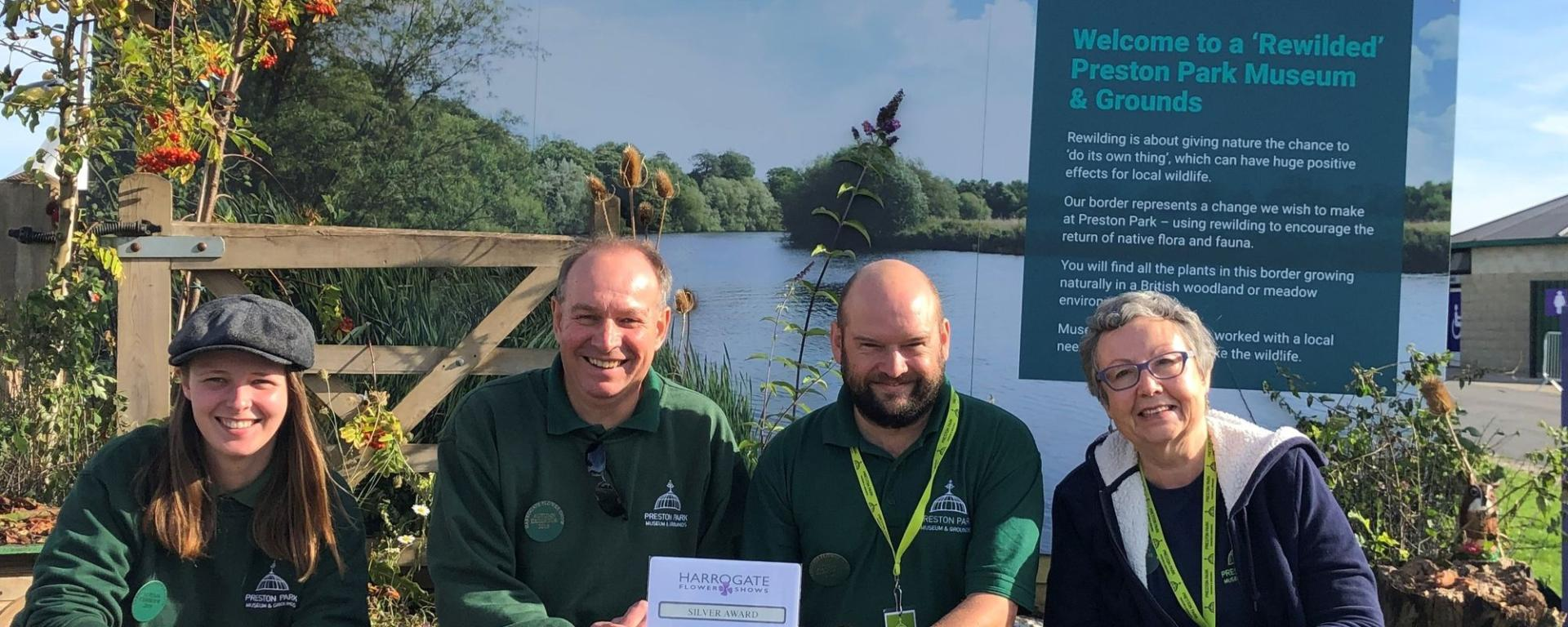 Park Rangers And Volunteers Accepting A Silver Award For The Show Border At The Harrogate Flower Show 2019