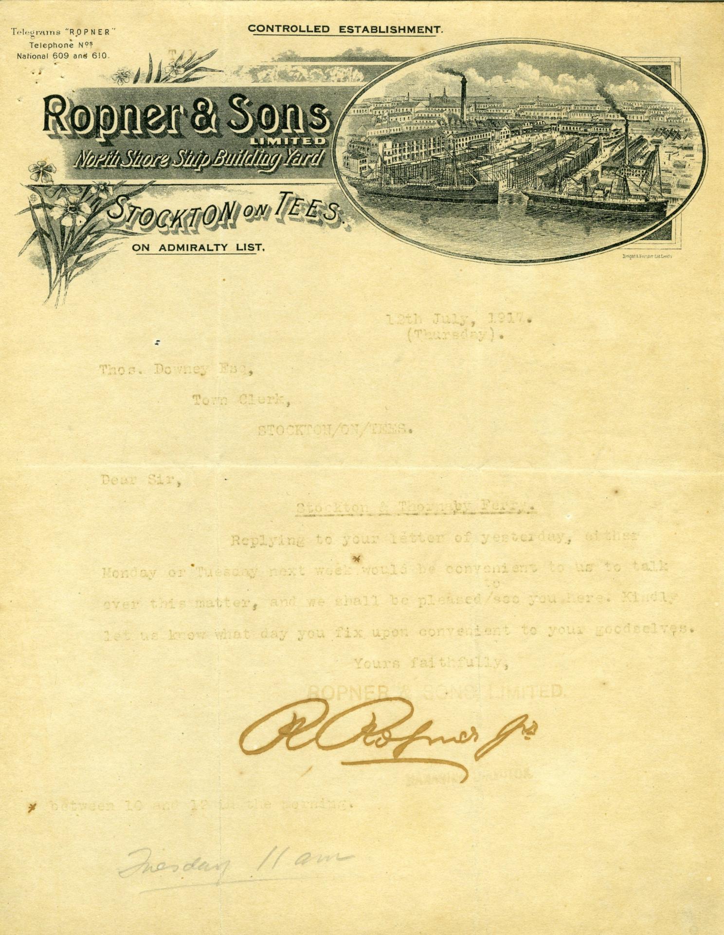 Ropner Shipping Letter