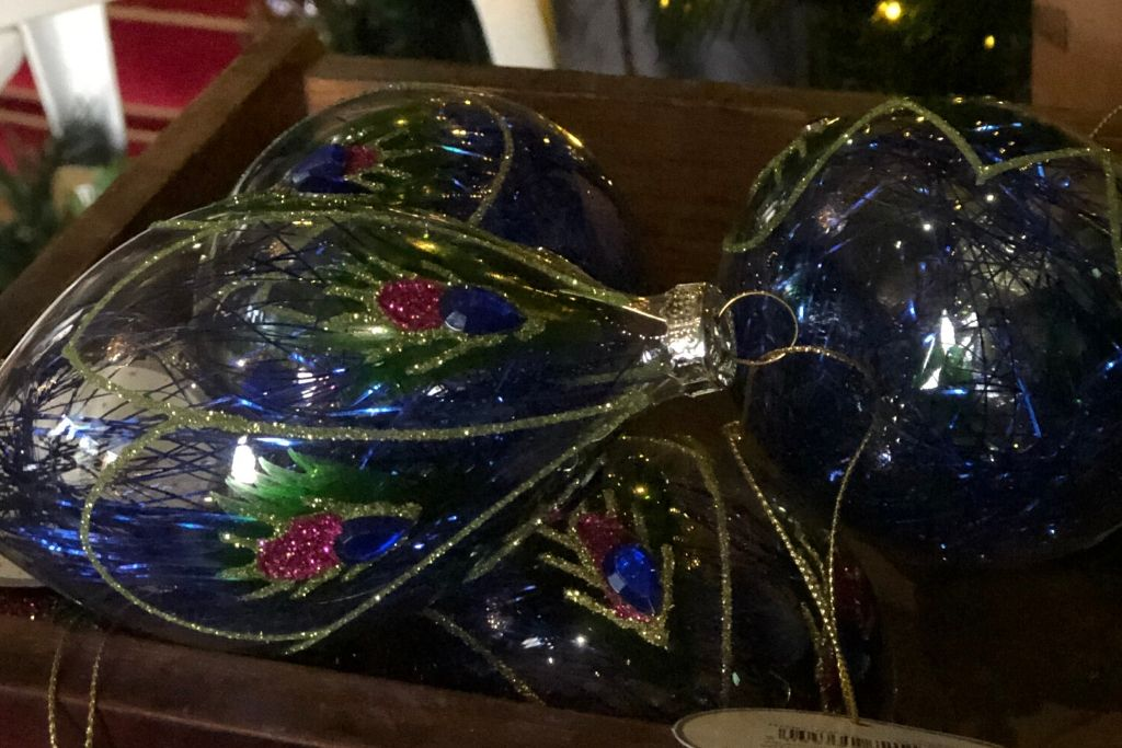 Peacock Themed Glass Baubles