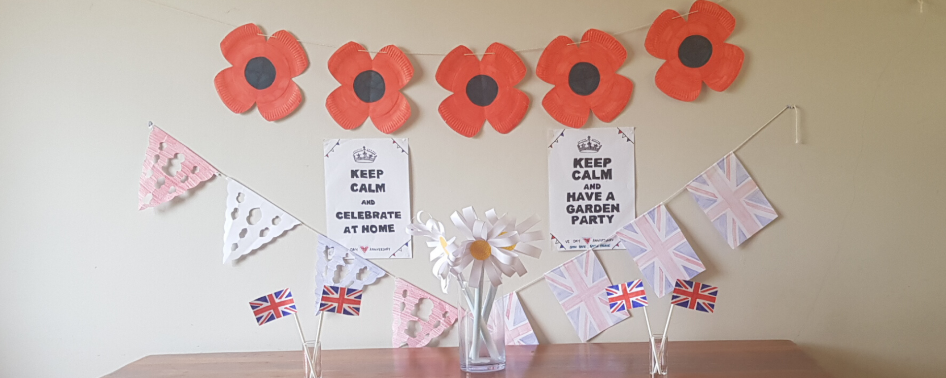 VE Day stay at home party decorations