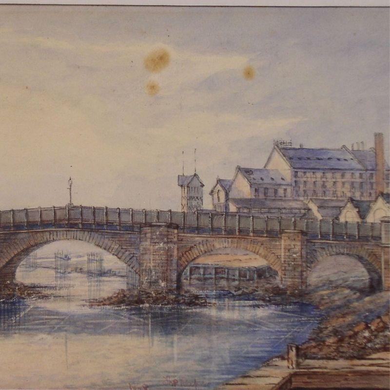 Painting Of A Bridge Over A River