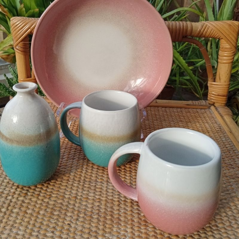 Dip Glaze Mug In Pink And Turquoise