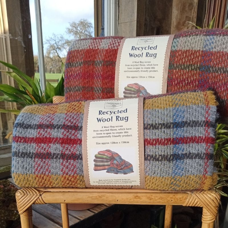 Tweedmill Wool Rug In Red And Blue Check And Mustard And Blue Check